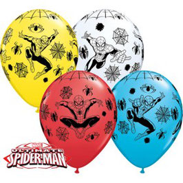 6 ballons blanc, bleu, jaune, rouge Spiderman