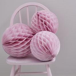 3 Boules en papier couleur rose pastel
