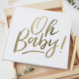 """Livre d'or blanc et doré écriture """"Oh baby"""""""