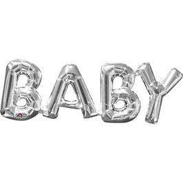 "Ballon métallique argent mot ""Baby"" en majuscule"