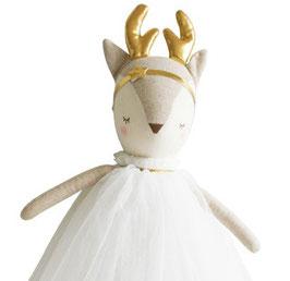 Poupée Biche Angelica robe ivoire bois dorés Alimrose