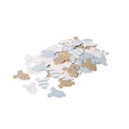 100 confettis body bleu ciel, blanc et or blanc
