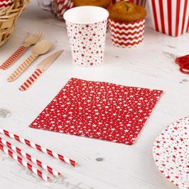 20 serviettes en papier fond rouge étoiles blanches