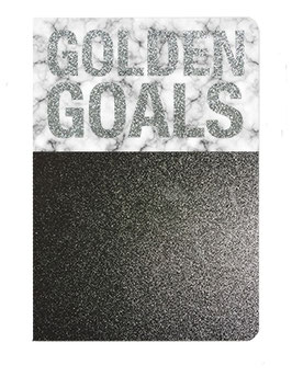 "Carnet pailleté format 12X17.5cms message ""Golden goals"""