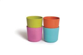 Set de 4 gobelets Bambino by Biobu variante vert anis/rose/orange/turquoise