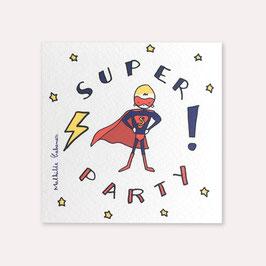 6 invitations anniversaire Super héros avec 6 enveloppes blanches , Mathilde Cabanas