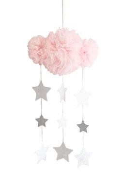 Mobile nuage en tulle plumetis rose pastel avec étoiles argent