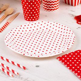 8 assiettes en carton pois rouges