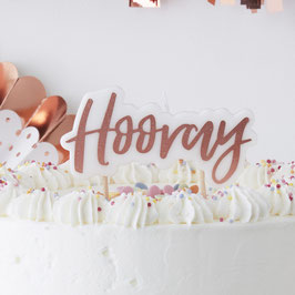 "Bougie Rose Gold Ecriture ""Hooray"""