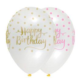 6 Ballons transparents avec écritures roses et dorées