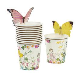 12 gobelets avec papillons pour fête anniversaire Fée Pastel