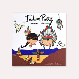 6 invitations anniversaire Indiens et indiennes avec 6 enveloppes blanches , Mathilde Cabanas