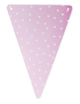 5 fanions triangles roses pois blancs