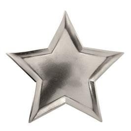 8 assiettes argent en forme d'étoile Meri Meri