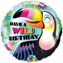"""Ballon Toucan """"Have a Wild Birthday"""" en Aluminium"""