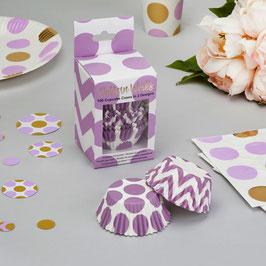 100 caissettes gateaux chevrons et pois violets