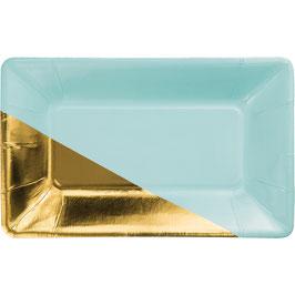 8 Petites assiettes bicolores turquoise doré