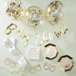 Kit Baby Shower Blanc et Doré