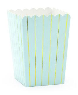 6 petites boites à popcorn bleu ciel rayures dorées