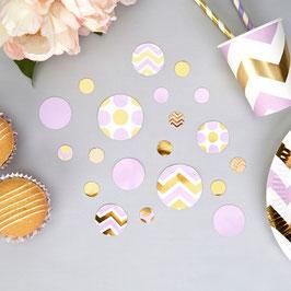 Confettis de table chevrons et pois parmes et dorés