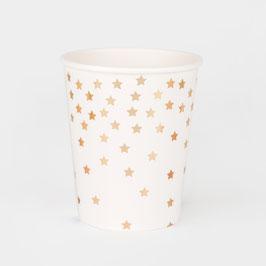 8 gobelets blancs avec étoiles dorées dégradées my little day