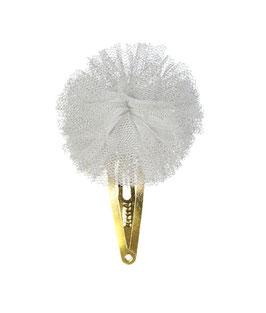 Barrette clip pompon tulle gris paillettes argent