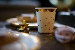 8 Gobelets blancs pois dorés avec bordure frise dorée