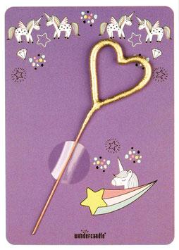 Petite Carte Licorne Mauve avec bougie magique coeur
