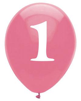 6 ballons gonflables roses avec écriture blanche chiffre 1