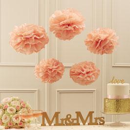 5 pompons en papier de soie rose pastel