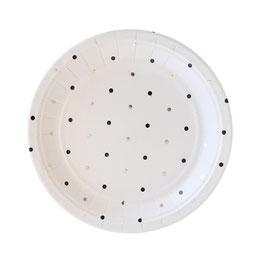 10 petites assiettes blanches avec pois noirs et argent