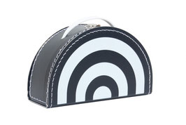 Valise en carton arc en ciel monochrome noir et blanc