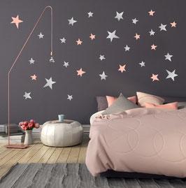 Stickers muraux étoiles roses et argent  Pom le bonhomme