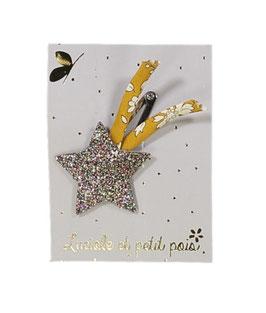 Barrette clip étoile filante bronze et liberty Capel moutarde