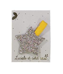 Grande Barrette pince moutarde étoile bronze Luciole et petit pois
