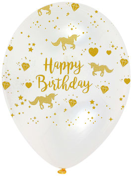 6 Ballons Transparents Licorne Happy Birthday Beige