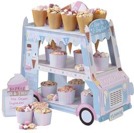 Camion pastel marchand de glaces, présentoir bonbons et petits gateaux