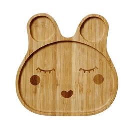 """Assiette bambou """"Happy Face"""" modèle fille , marque Rice"""