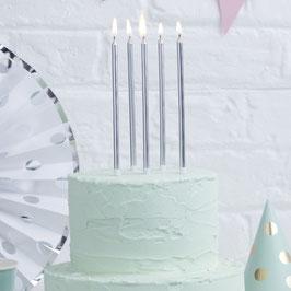 24 longues bougies argent 15cms