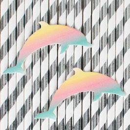 12 pailles rayées argent et blanc avec dauphins