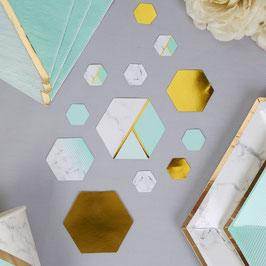 Confettis de table dorés, effet marbre vert menthe et dorés, vert menthe