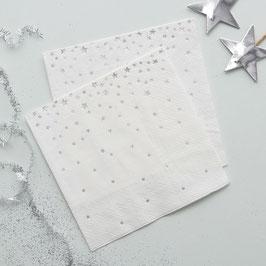 20 petites serviettes en papier fond blanc étoiles argent