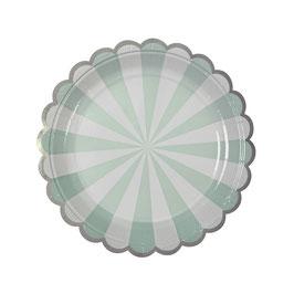 8 petites assiettes en carton rayures vert menthe et blanc meri meri