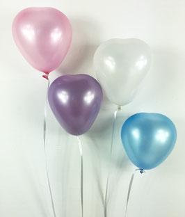 10 petits ballons assortis coeurs pastels nacrés en latex