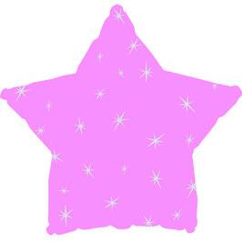Ballon métallique étoile rose pastel avec étoiles blanches imprimées