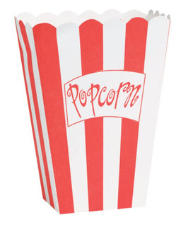 8 Boîtes Popcorn Rayures Rouge et Blanches