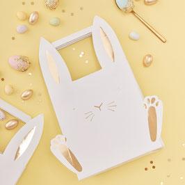 5 sacs à cadeaux lapins blancs et dorés