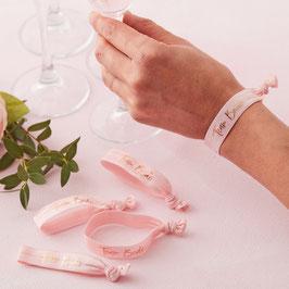 5 Bracelets élastique EVJF roses Team Bride rose gold