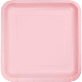 18 petites assiettes carrées en carton rose pastel 17cms