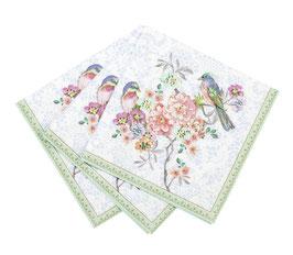 20 petites serviettes avec fleurs liberty pastels et oiseaux